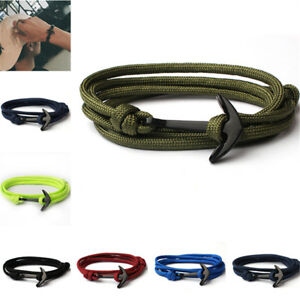 Fashion Mens Boys Multilayer Nylon Anchor Handmade Rope Wristband Bracelets Gift