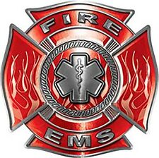 """Firefighter EMS Star of Life Maltese Cross Decal  in Red 6"""" REFLECTIVE FF16"""