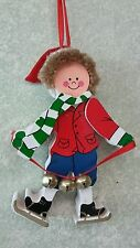 Ice Skater Boy Flat Wood Christmas Ornament Bells and Santa Hat