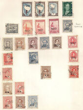 Argentina stamps on old stamp album page. service official  M.G.   M.H.   M.M.