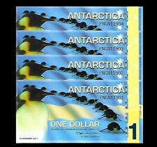 Antarctica 2011 $1 x 4 Notes Penguin Penguins  Polymer Note Lot Of 4  - Set Of 4