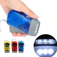 Portable 3 LED Dynamo Hand Pressing Crank Flashlight Manual Camping Torch Light
