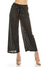 LA12ST Women High Waist Casual Self Tie Stripe Wide Leg Palazzo Pants