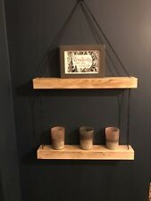 Chunky Wooden Hanging Rustic Shelf Unit, Black Cord With Waxed Shelves