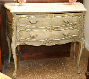 Superb Gray Antique Gilded French Louis XV Onyx Top Commode Dresser C1920