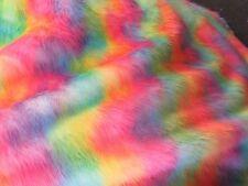 METATRON Charming cacatua multi color Wave tie dye Rainbow Faux Fur Fabric.