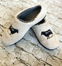 LL Bean Womens Daybreak Scuffs Slippers Sheep Motif Shearling Lined Size 9