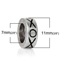 """""""Xoxo Hugs and Kisses"""" Charm Bead Spacer  for Most European Snake C..."""