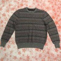 Gray Fair Isle Eddie Bauer Pullover Crewneck Sweater Size Mens L