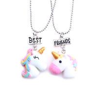 2X Fashion 3D Unicorn Shape Best Friend Forever Pendant Necklace Child Kids Gift