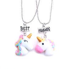 2Pcs/Set Best Friend Unicorn Friendship Pendant Necklace Jewelry Kids Gifts