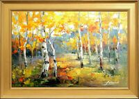 Gold Wooden Framed, Heavy Texture Oil Painting, Autumn Russian Forest Landscape