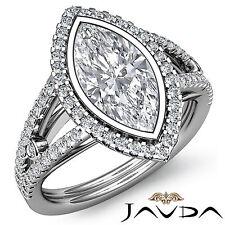 Halo Prong Set Marquise Shape Diamond Engagement Ring GIA F SI1 Platinum 1.8 ct