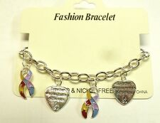 Autism Bracelet Puzzle Ribbon Heart Charms Link Toggle Lead & Nickel Free New