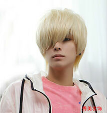 Fashion Men Short Light Blonde Straight Hair Male Cosplay Daily Party Full Wigs