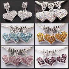 Czech Crystal Heart Dangle European Charm Pendant Beads Fit Bracelets 5/10/20PCS