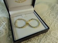NEW 9ct 9carat Yellow & White Gold Hoop Creole Earrings, Snap Closure 23mm