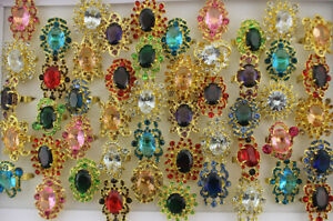 35pcs Wholesale Jewelry Lots Mixed Gold P Glass Full Rhinestone Adjustable Rings