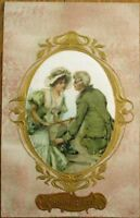 Silk-Applied Panel 1907 Color Litho Art Nouveau Postcard - Couple, Man & Woman