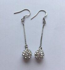 Silver Plated Long Dangle Earrings Rhinestone Crystal Stud Pierced Ears E141 UK