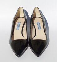 $595 PRADA Black Patent Leather Pointed Toe Mid Kitten Heel Classic Pumps 36 EC