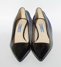 $595 PRADA Black Patent Leather Pointed Toe Mid Kitten Heel Classic Pumps 36 EC