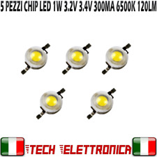 5x Chip led 1W bianco 250-300mA 3.2V 3.4V alta luminosità 6500k