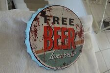 Shabby Blechschild Wandbild Kronkorken Free Beer Tomorrow 34x4cm Metall Blau NEU