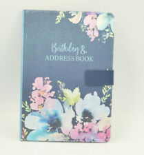 A5 Size Address & Birthday Book Satin Fabric Floral Design Magnetic Closure