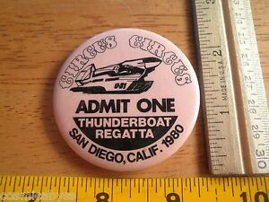 1980 Power boat racing button Circus Circus Thunderboats Racing Team U-31