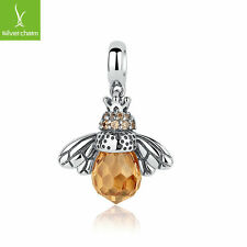 Charm of 925 Silver Love Orange Bee Animal Dangle Charm for Women Fashion Beads