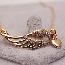 Trendy 1pc Rose Gold Plated Angel Wings Heart Jewelry Pendant Chain Necklace New
