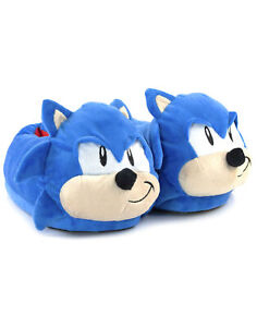 Sonic The Hedgehog Men's Slippers 3D Face Adults Character Blue House Shoes