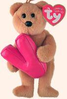 """TY Alphabet Beanies Letter V Bear 6""""....NEW"""