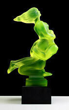 Art Deco Vaseline Glass Statuette Nude Lovers Figurine H.Hoffmann