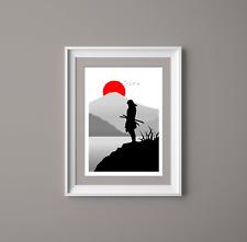 Japanese Samurai Wall Art,Landscape Art Print, Home Decor, Japan Art Print, B&W