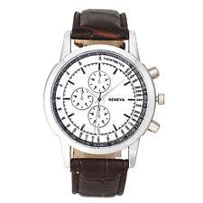 Deluxe Geneva Men Business Design Dial Leather Band Analog Quartz Wrist Watch