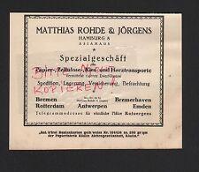 HAMBURG, Werbung 1929, Matthias Rohde & Jörgens Papier-Zellulose