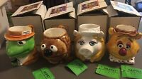 Set of 4 Sigma 1980's Ceramic Muppet Mugs Kermit, Fozzie, Miss Piggy, Rowlf
