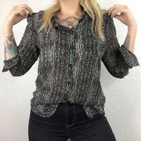 Moda International Womens S Sheer Long Sleeve Button Down Blouse Roll Sleeve