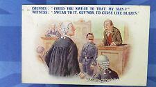 Reg Maurice Comic Postcard 1921 Lawyer Attorney Judge Courtroom Oath Swear Theme