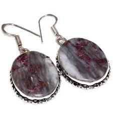 "Handmade Purple Lepidolite Gemstone 925 Sterling Silver 1.75"" Earrings #E00300"