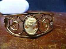 Bangle Bracelet Carved Shell Cameo Vintage Victorian Gold Filled Over Sterling