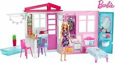 BARBIE Doll and Dollhouse CLOSE & GO! 1-Story House Playset With Pool