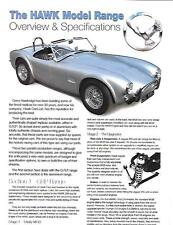 HAWK CARS LTD, HAWK COBRA REPLICA RANGE BROCHURE - GRP, HAWK 1.8,2.6,289 & 39PH