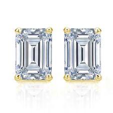 NEW Diamonique 2 CTW 14 K Yellow Gold Emerald Cut Stud Earrings~W/Gift Bag