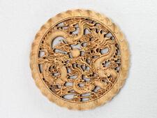 """Holzbild """"Drachen um Perle"""", Feng Shui Holz Wandbild Relief geschnitzt China"""