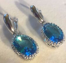 W07 Oval Blue Aquamarine Silver White Gold Filled Drop Dangle Earrings Plum BOXD