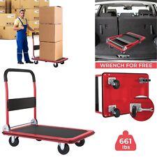 660 Lbs Folding Platform Cart Dolly Push Hand Truck With 360 Swivel Wheels Us
