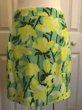 Women's J Crew Floral Green Yellow Mini Skirt Size 2 NWOT